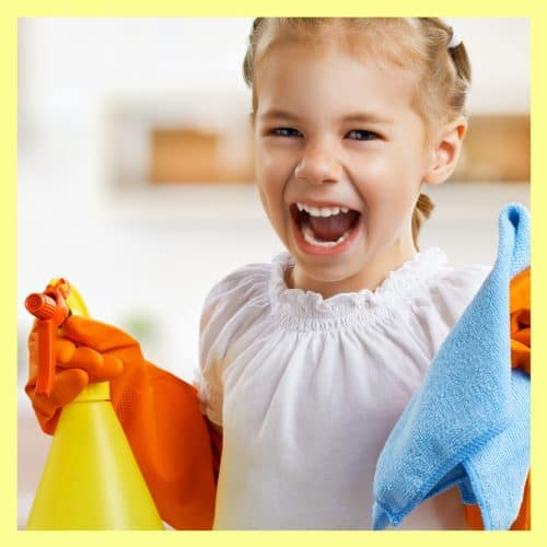 happy child cleaning